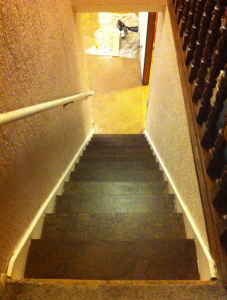 Here's the stairs after the stain is on an protective sealant has been applied.
