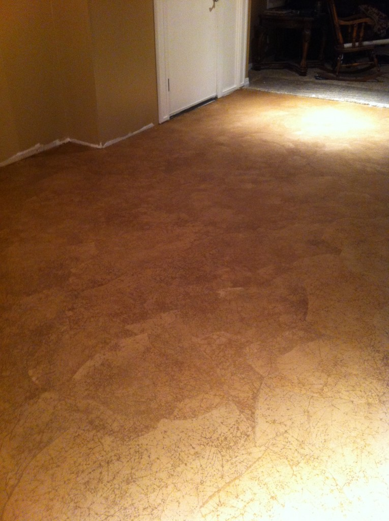 This is the floor after the paper has been put down and dried.